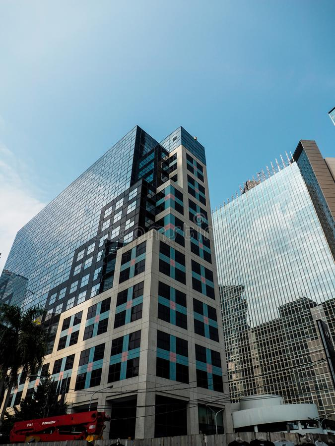 modern Colourful cityscape building blue sky royalty free stock images