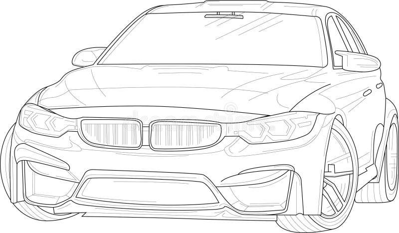 Modern bil med översikter Vektorillustration i svartvitt vektor illustrationer