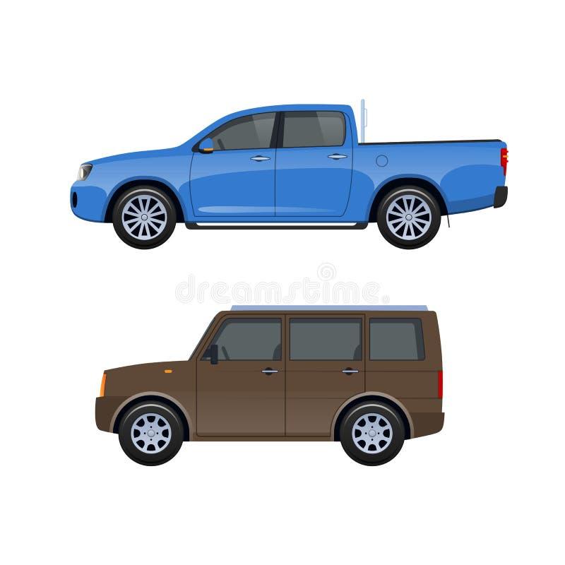 Modern biljeep för familjer, turer, lopp, trans. av bagage stock illustrationer