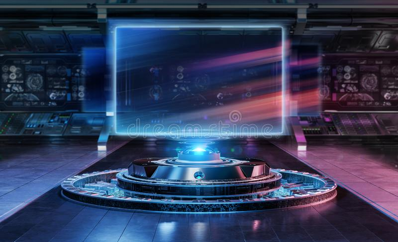 Modern billboard mockup in futuristic interior 3d rendering. Modern billboard mockup in futuristic interior spaceship 3d rendering stock illustration