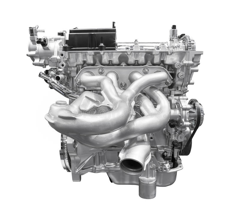 Modern bilmotor som isoleras på vit bakgrund med det passande urklippet royaltyfri foto