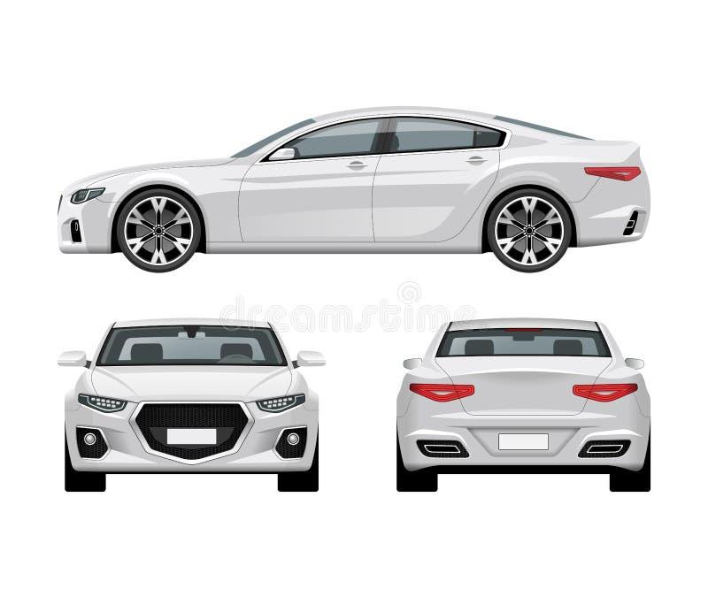 Modern bilvektormall Vit affärssedan som isoleras på vit bakgrund royaltyfri illustrationer