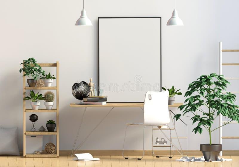 Modern binnenland in de stijl Skandinaviër, een plaats voor studie 3d vector illustratie
