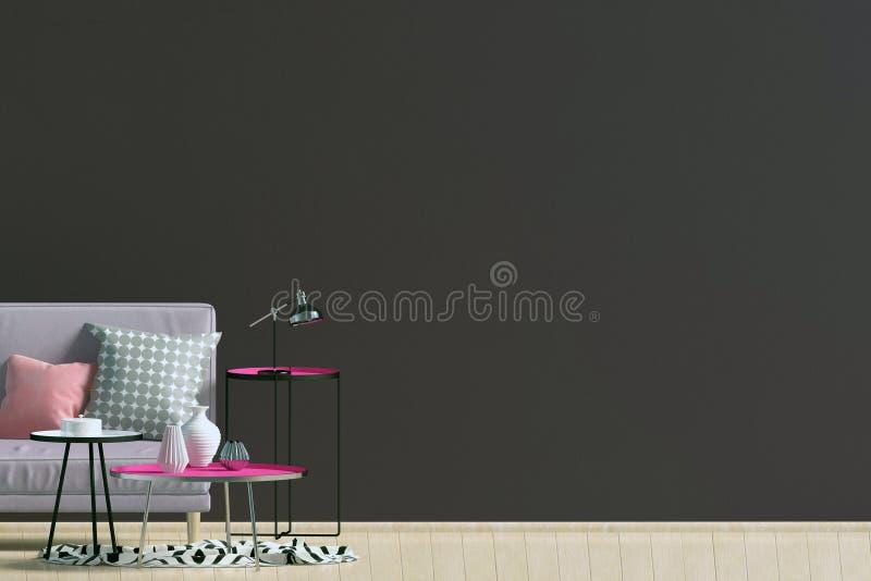 Modern binnenland met bank muurspot omhoog vector illustratie