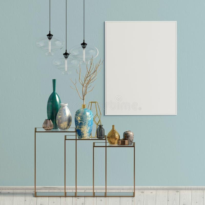 Modern binnenland met het rekken, affiches en lampen Affichespot omhoog vector illustratie