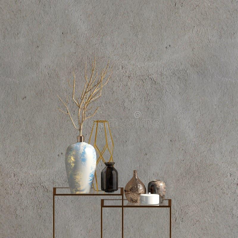 Modern binnenland met het rekken en vazen muurspot omhoog 3d illustr stock illustratie