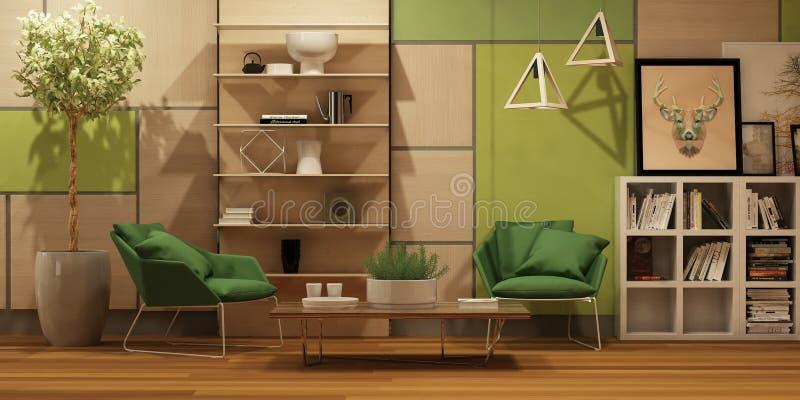 Modern binnenland met muur houten panelen, beelden en twee groene leunstoelen in Skandinavische stijl vector illustratie