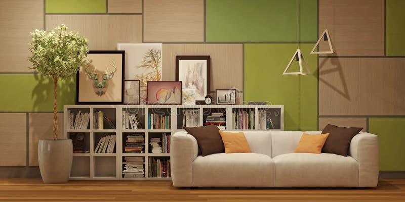 Modern binnenland met muur houten panelen, beelden en wit in Skandinavische stijl vector illustratie