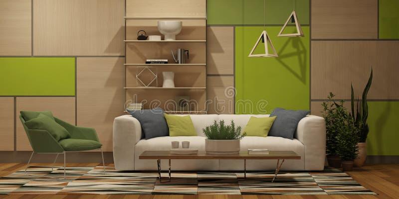 Modern binnenland met muur houten panelen, beelden, witte bank en groene leunstoel in Skandinavische stijl vector illustratie