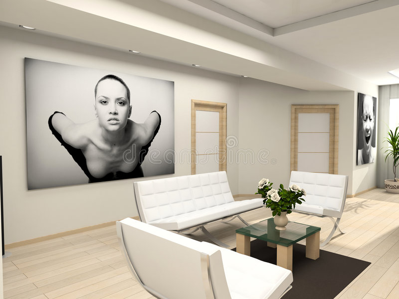 Modern binnenland met portret. royalty-vrije illustratie