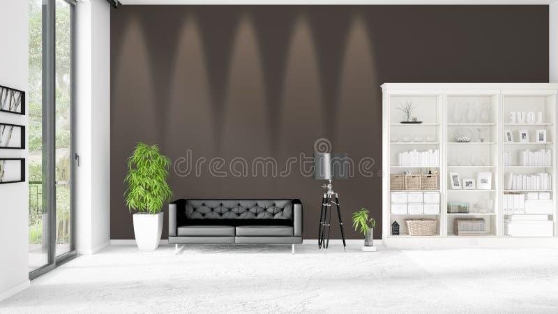 Modern binnenland in mode met zwarte leerlaag en copyspace in horizontale regeling het 3d teruggeven vector illustratie