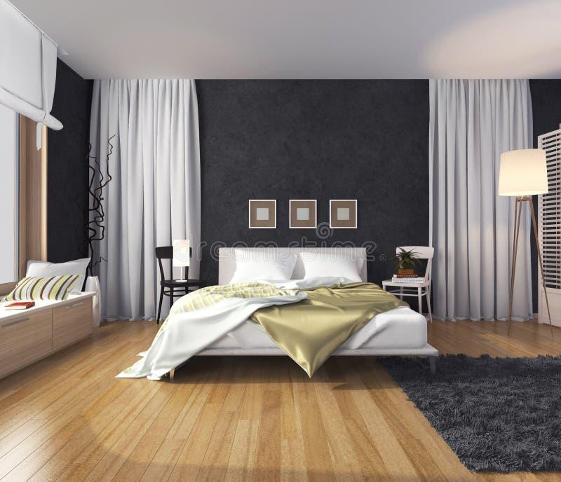 Modern binnenland van een slaapkamer met een muur van donkere kleur, bed en royalty-vrije illustratie