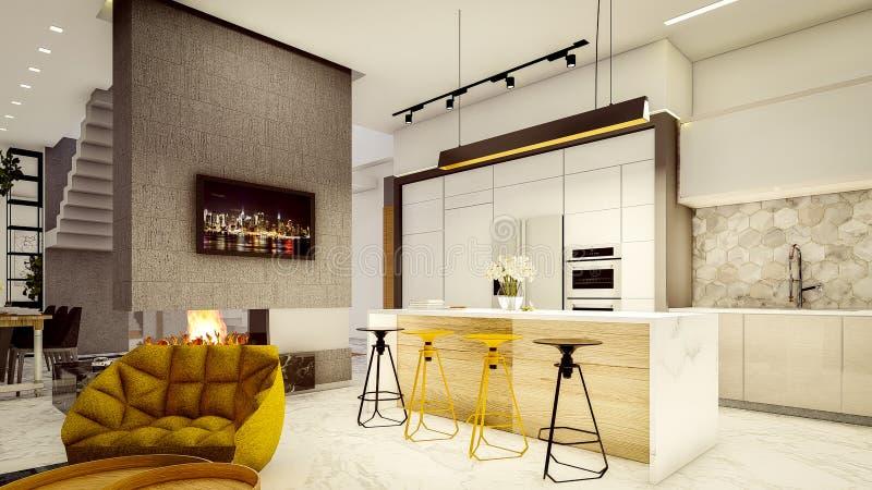 Modern binnenland van keuken en brandopen haard vector illustratie