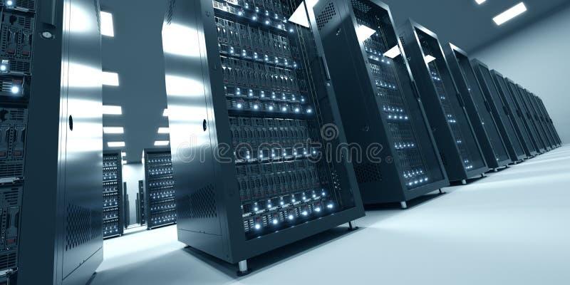 Modern binnenland van serverruimte in datacenter Wolk die DA gegevens verwerken stock fotografie