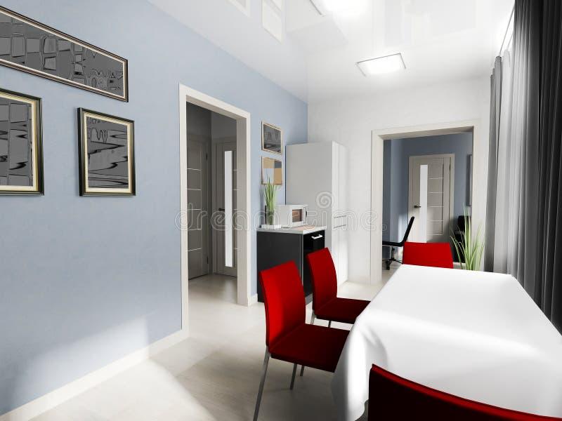 Modern binnenland van woonkamer royalty-vrije illustratie