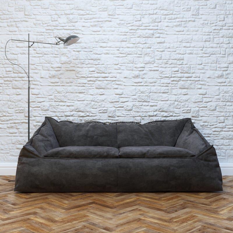 Modern Binnenlands Ontwerp met Comfortabel Zwart Sofa And Lighting stock foto's
