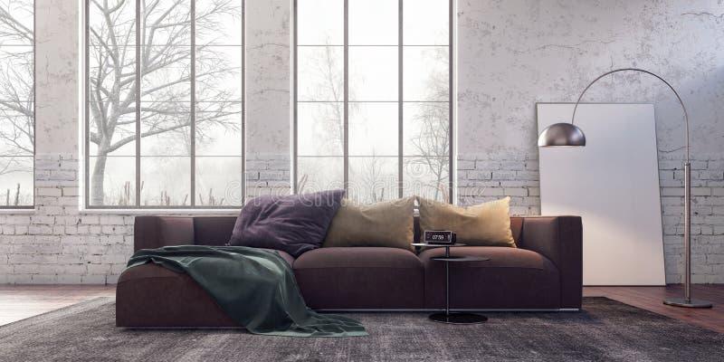 Modern binnenlands ontwerp met oude witte baksteen bij wazige ochtend royalty-vrije stock foto's