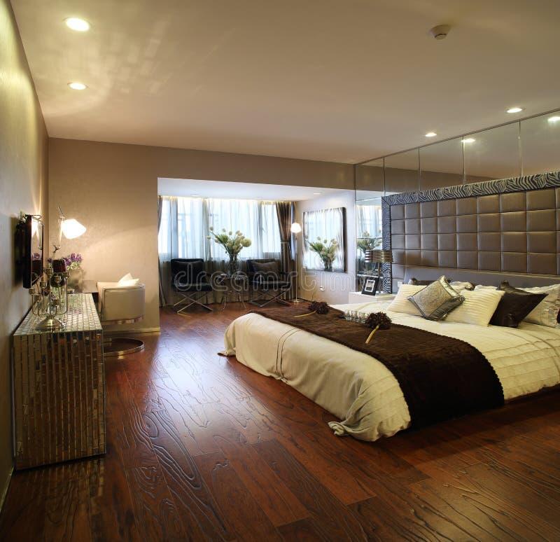 Modern binnenlands ontwerp - Slaapkamer stock afbeeldingen