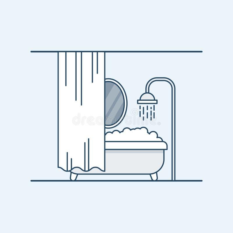 Modern binnenlands ontwerp van een badkamers of een doucheruimte Badkamers met schuim en geschermd spiegelblind Vector illustrati vector illustratie