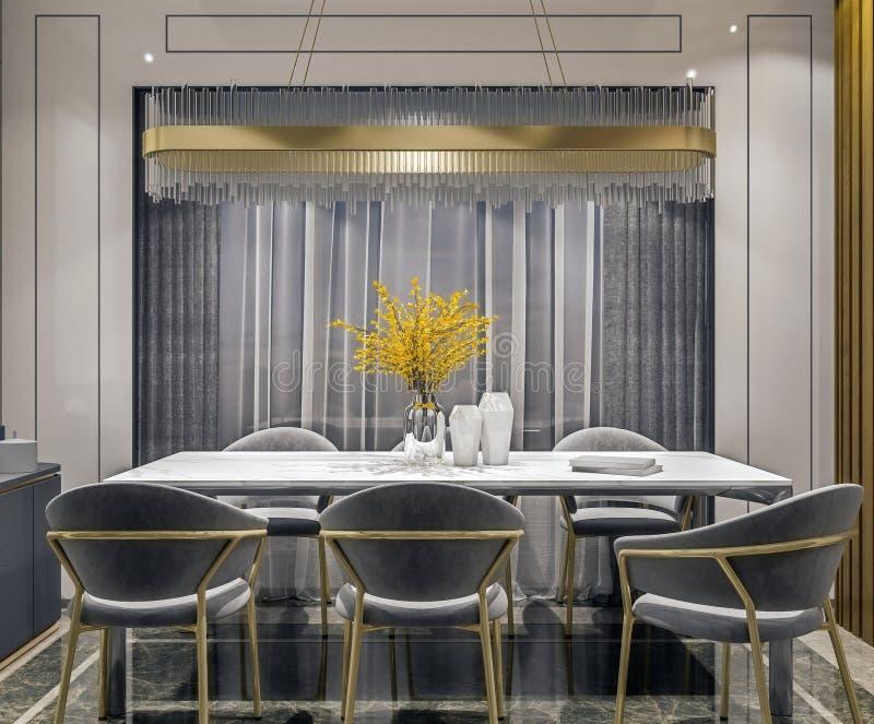 Modern binnenlands ontwerp van grijze gouden eetkamer met zijconsole en houten plakkenmuur, donkere en humeurige nachtscène stock afbeelding