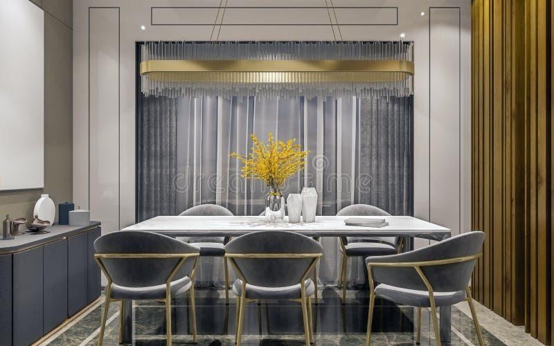 Modern binnenlands ontwerp van grijze gouden eetkamer met zijconsole en houten plakkenmuur, donkere en humeurige nachtsc?ne stock foto