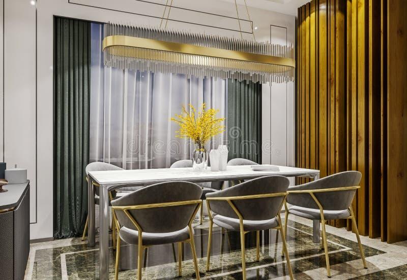 Modern binnenlands ontwerp van grijze gouden eetkamer met zijconsole en houten plakkenmuur, donkere en humeurige nachtsc?ne royalty-vrije stock foto
