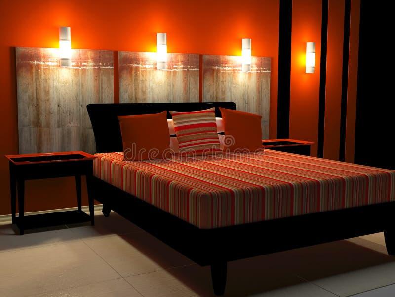 Modern binnenlands ontwerp van slaapkamer stock illustratie