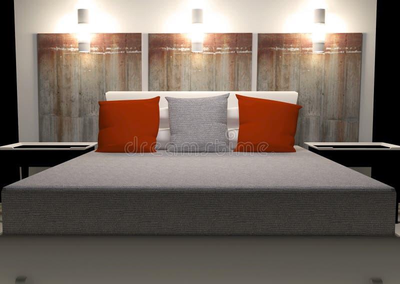 Modern binnenlands ontwerp van slaapkamer royalty-vrije illustratie