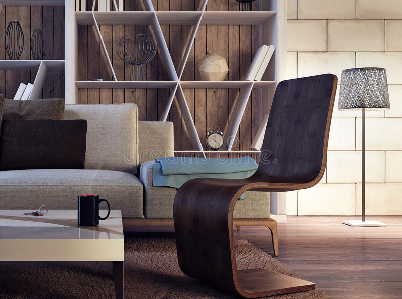 Modern binnenlands ontwerp van woonkamer stock foto
