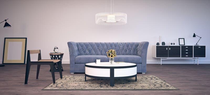 Modern binnenlands ontwerp van woonkamer royalty-vrije stock foto's