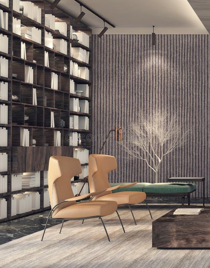 Modern binnenlands ontwerp van woonkamer royalty-vrije stock afbeelding
