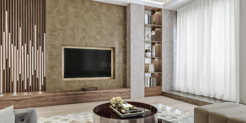 Modern binnenlands ontwerp van woonkamer, hoekige dichte omhooggaande mening van TV-muur met boekenplanken, gipspleisterpleister stock illustratie