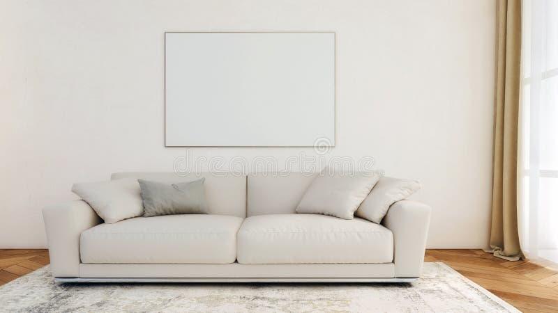 Modern binnenlands ontwerp van woonkamer met omlijsting het hangen op de lege muur, model, achtergrond, malplaatje, exemplaarruim royalty-vrije illustratie
