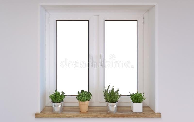 Modern binnenlands ontwerp wit venster met houten vensterbank en kruiden in potten, 3d illustratie, het 3d teruggeven stock illustratie