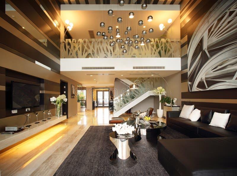 Modern binnenlands ontwerp - Woonkamer stock afbeeldingen