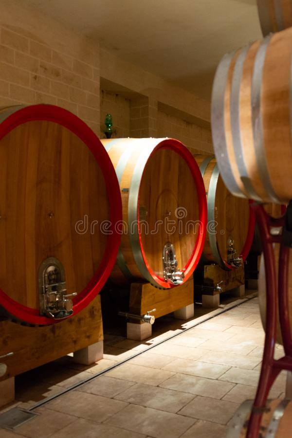 Modern bio wine production factory in Italy, caves with french o. Modern bio wine production factory in Italy, inox steel tanks used for fermentation of wine royalty free stock photography