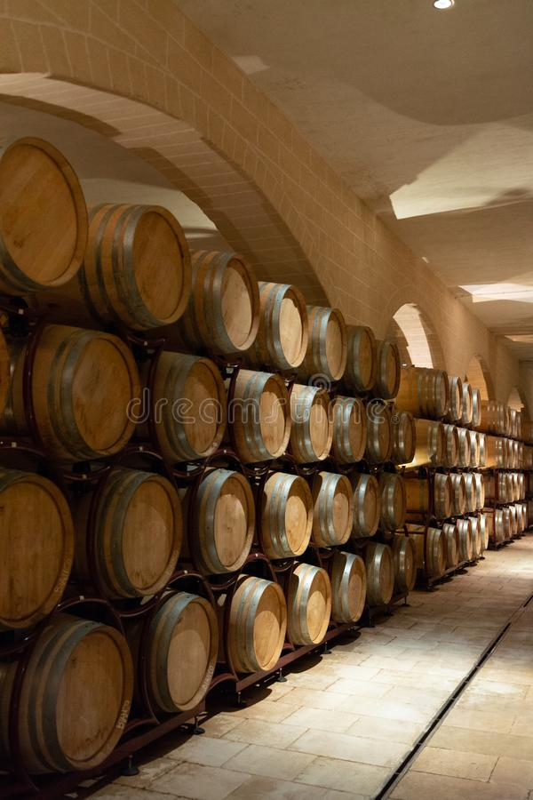 Modern bio wine production factory in Italy, caves with french o. Modern bio wine production factory in Italy, inox steel tanks used for fermentation of wine royalty free stock images