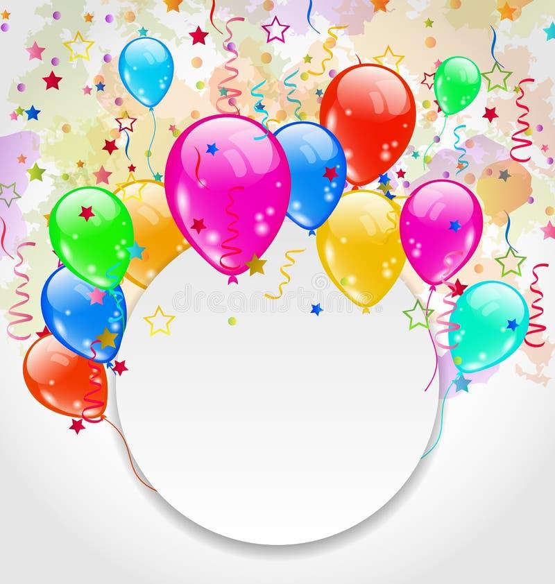 Modern birthday greeting card with set balloons. Illustration modern birthday greeting card with set balloons - vector stock illustration