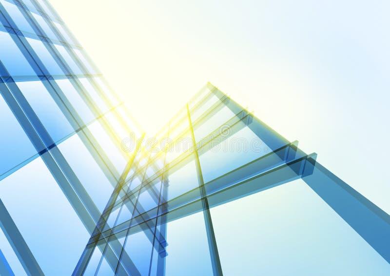 Modern blå glasvägg av kontorsbyggnad arkivbild