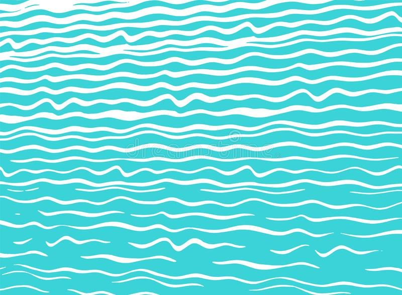 Modern blå havsbakgrund med hand-drog vågor royaltyfri illustrationer