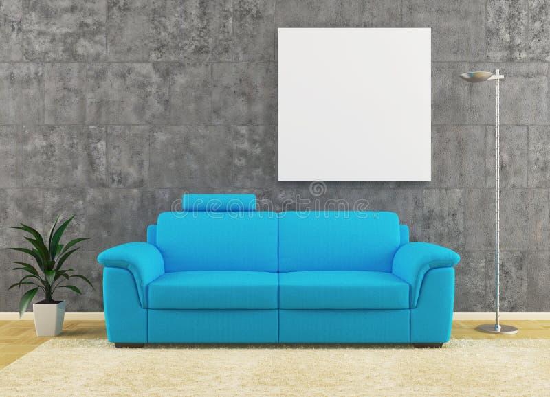 Modern blå sofa på smutsig vägginredesign stock illustrationer