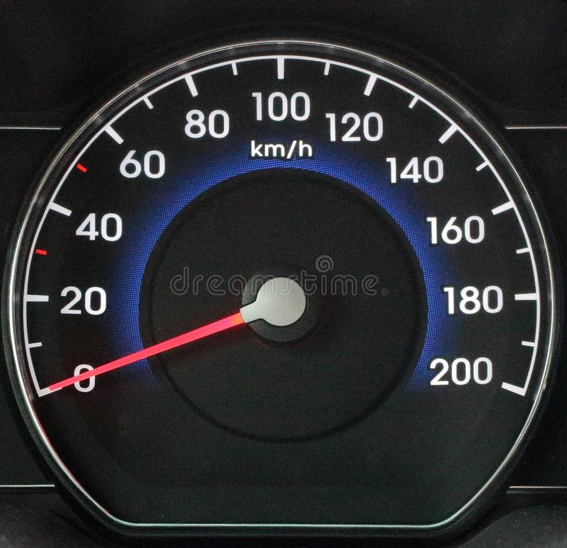 Modern black automobile dashboard with speedometer. Speeding and power concept. royalty free stock photos