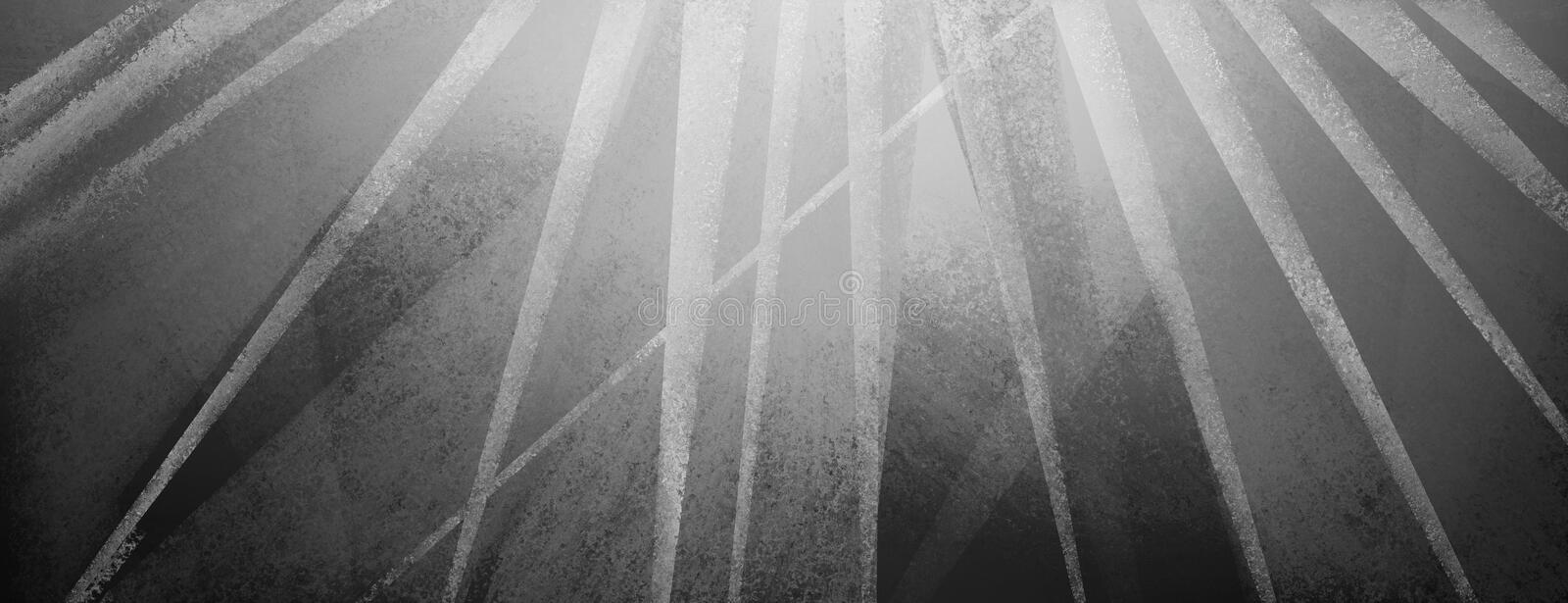 Modern black background with distressed white and gray stripes and triangles stock illustration