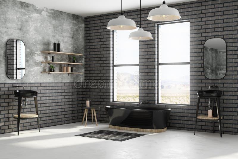 Modern black brick bathroom stock illustration