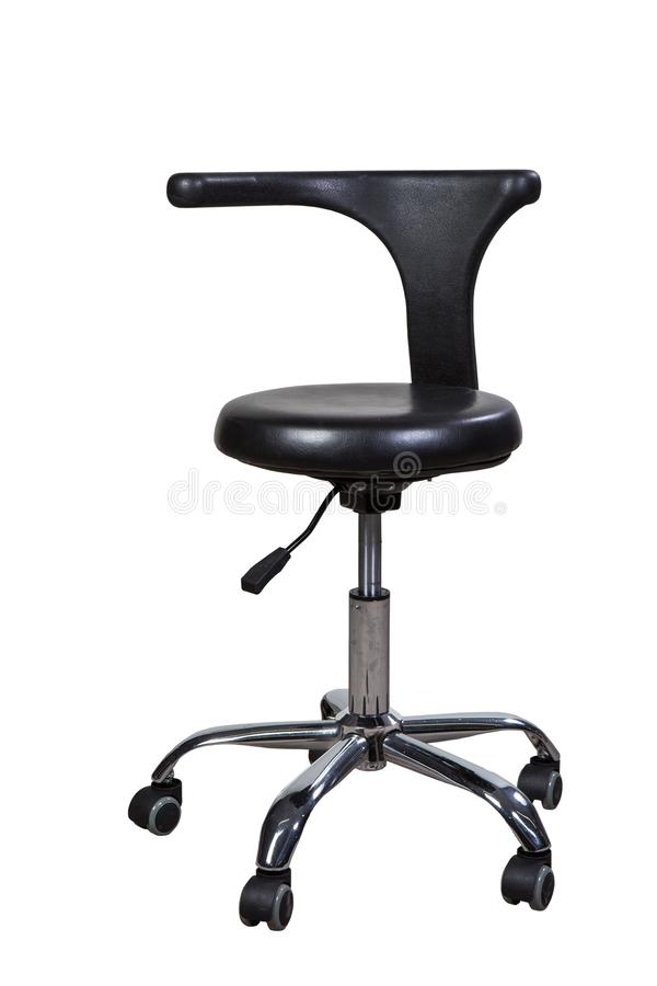 Modern black chair for dentist or doctor. Isolated on white background royalty free stock photo
