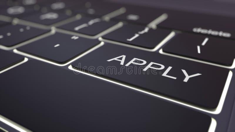 Modern black computer keyboard and luminous apply key. 3D rendering royalty free stock image
