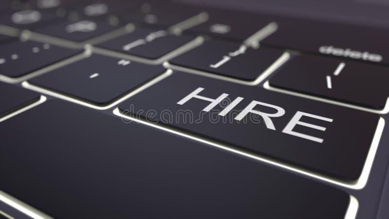Modern black computer keyboard and luminous hire key. 3D rendering. Modern black computer keyboard and luminous hire key. 3D stock photography