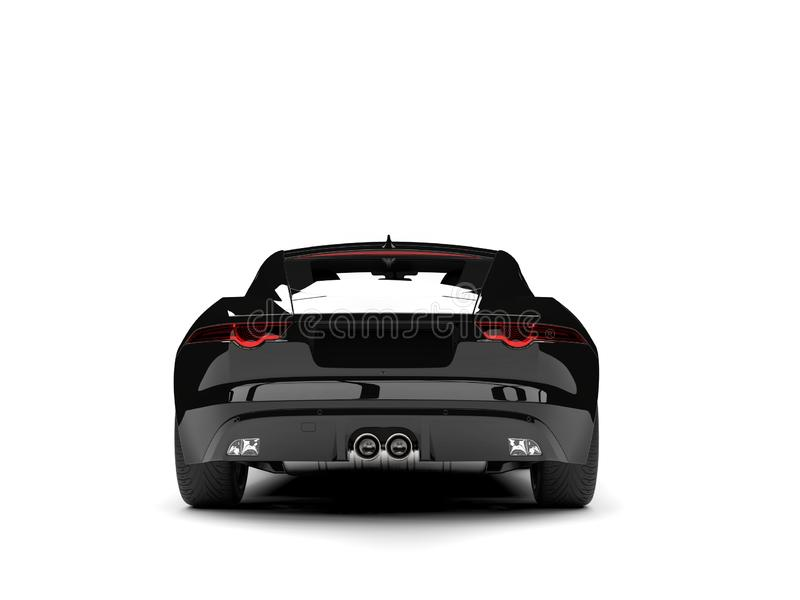 Modern black concept sports car - back view. Isolated on white background stock illustration