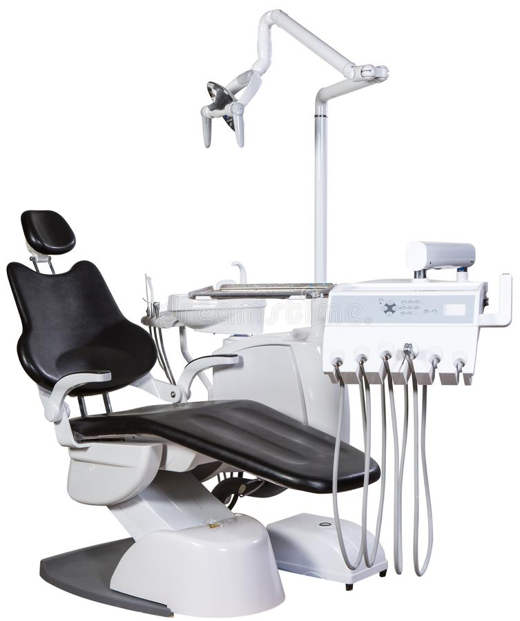 Modern black dentist chair isolated on white background stock photography