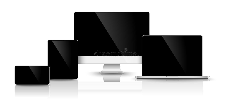 Modern black devices. Vector stock illustration